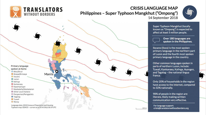 Crisis Language Map - Philippines - Super Typhoon Mangkhut